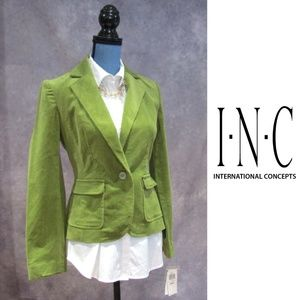 NEW INC Green Corduroy Blazer Size S
